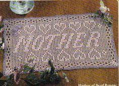 Free Filet Crochet Mother's Day   Runner