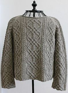 If I weren't such a cheepskate, I'd buy the pattern. However, it's made from fingering weight yarn.Ravelry: Iron Works Sweater pattern by Madeline Lee Aran Knitting Patterns, Cable Knitting, Knitting Designs, Knit Patterns, Free Knitting, Knitting Projects, Pulls, Celtic, Knitwear
