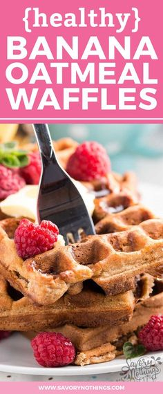 Banana Oatmeal Waffles! The easy batter is made from scratch with whole wheat flour, rolled oats, chopped banana, chopped walnuts, honey and eggs.