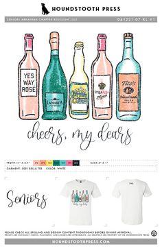 #sorority #greeklife #customdesign #lovethelab // Houndstooth Press Custom Apparel Sorority Pr, Sorority Outfits, Greek Life, Prosecco, Fraternity, Spray Bottle, Houndstooth, Custom Clothes, Custom Design