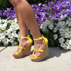 Summer is almost here! These yellow wedges will look amazing with a pair of daisy dukes. #ShoeDazzle