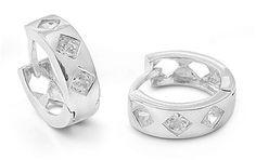 14mm Embedded Brilliant Stones Cubic Zirconia Silver Hoop Earrings