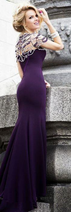 Gorgeous plum color maxi gown fashion style