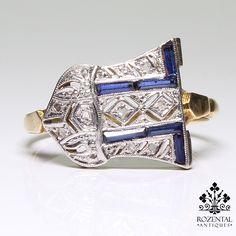 Antique Art Deco 18k gold diamond ring (hva)