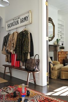 Love this eclectic entryway ... {and LOLOLOL! SO making this sign for our entryway - because you know - the shoe fits}