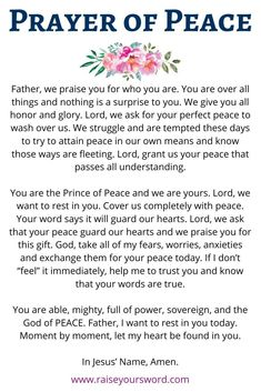 Prayer of Peace to bring comfort to your heart in the midst of worry and anxiety. Prayer Scriptures, Bible Prayers, Prayer Quotes, Bible Verses, Angel Prayers, Biblical Quotes, Faith Quotes, Spiritual Quotes, Bible Quotes