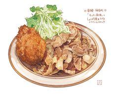 「しょうが焼きライス+クリームコロッケ」/「もみじ真魚」のイラスト