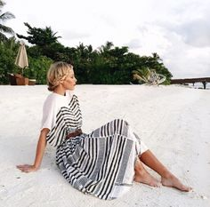 striped dress on a beach