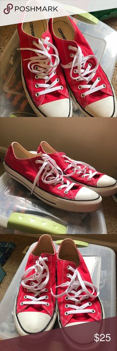 Men's Converse size 12 red sneakers Men's size 12 red Converse shoes, worn only 2-3 times. great condition, few scuffs could be cleaned up with a magic eraser. White laces. Converse Shoes Sneakers