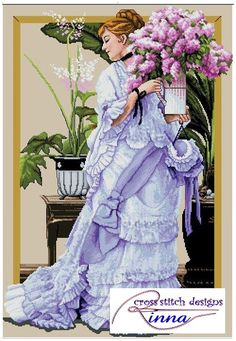 Lady & Bunch of Lilacs Victorian Lady-style-design in cross stitch