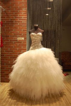 Rhinestone Ball Gown with Feathered Skirt