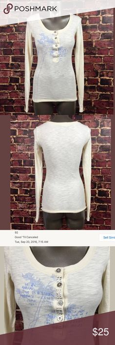 "Free People White long sleeve henley shirt Free People white henley with blue graphic print. Women's size XS, please see photos for details. Gently used with no flaws.   armpit to armpit- 16"" length- 25""  Inventory P16 Free People Tops Tees - Long Sleeve"