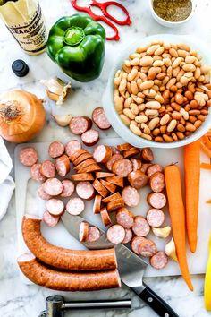 Creamy Bean Soup with Sausage | foodiecrush.com Kilbasa Sausage Recipes, Kielbasa Sausage, Bean Soup Recipes, Pork Recipes, Beans Recipes, Cooking Recipes, Meatball Recipes, Bean And Sausage Soup, Vegan Lentil Soup