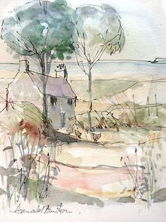 Original Water Colour Painting 'Coastal Cottage with Hens'. Signed.