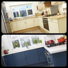 Our kitchen - before above, after below. Hard to believe they're the same units. My Furniture, Painted Furniture, Kitchen Cupboards, Home Kitchens, Shabby Chic, The Unit, Colours, Projects, Photos