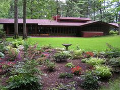 A view of the Frank Lloyd Wright-designed Zimmerman House, Manchester, NH, from the garden. Owned by and open for tours through the Currier Museum of Art.