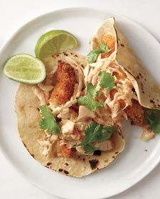 Chicken Tender Tacos: The secret to a great taco is contrast in texture -- here, crunchy coleslaw mix (another time-saver) partners well with tender chicken and soft tortillas.