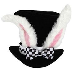 This fantasy Alice in the Wonderland White Rabbit Topper is perfect for Mad Hatter Tea Parties and very happy un-birthdays. The Alice in the Wonderland White Rabbit Topper has rabbit ears on a black top hat with a black and white checkered blow. Alice In Wonderland Birthday, Alice In Wonderland Tea Party, Alice In Wonderland Rabbit, Mad Hatter Party, Mad Hatter Tea, Mad Hatters, Easter Costumes For Kids, Costume Alice, Bunny Costume