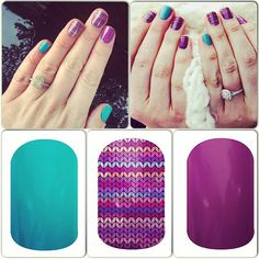 Jamberry Aquamarine, Stitched Away and Orchid! What a combo!!