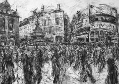Piccadilly Circus for web Jeanette Barnes, use with biro and graphite and acetate Building Drawing, Building Art, Graphite Art, City Drawing, Landscaping Near Me, A Level Art, Gcse Art, Built Environment, Environmental Art