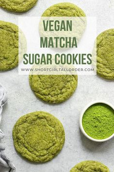 The best Vegan Matcha Sugar Cookies that are so soft & chewy! These easy green tea matcha cookies are made with only 8 ingredients & make for the perfect vegan cookie that is dairy-free, eggless, and SO delicious. Truly one of my favorite vegan matcha dessert recipes! #sgtoeats #matchacookies #vegancookies #matchasugarcookies #sugarcookies Bruschetta Bar, Vegan Mac And Cheese, Vegan Dessert Recipes, Vegan Recipes Easy, Best Vegan Desserts, Recipes Dinner, Vegan Treats, Vegan Foods, Short Girl
