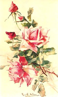 PRINT FREE SHIP Vintage Pink Roses by VictorianRosePrints on Etsy, $11.99