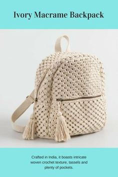 ShopStyle: Cost Plus World Market Ivory Macrame Backpack De 0 á Se Gostou Clique no ❤ Siga nosso perfi Elfenbein-Macrame-Rucksack von World Market - Diy stil This post was discovered by Se Simple and beautiful crochet backpack made in natural color. Crochet Handbags, Crochet Purses, Crochet Bags, Crochet Wallet, Crochet Backpack Pattern, Crochet Diy, Crochet Crafts, Macrame Purse, Crochet Shell Stitch