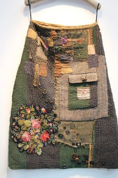 Applique, buttons, an old Harris Tweed label. Textile Treasure Seeker: 'Thread and Thrift'