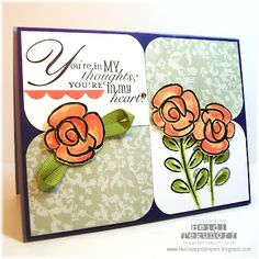 Paisley Petal DSP with the Flower Fest stamp set. This is the elegant card which the green floral DSP gives a soft feel to. Old Olive grosgrain ribbon to create the little ribbon leaves.