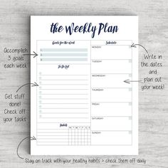 Printable Weekly Planner | To Do List, Weekly Planner | US Letter Planner, A4…