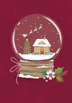 Christmas Snow Globes, Christmas Mood, Noel Christmas, Christmas Design, Vintage Christmas, Illustration Noel, Winter Illustration, Christmas Illustration, Illustrations