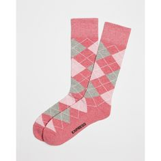 Express Cushioned Argyle Dress Socks (35 PEN) ❤ liked on Polyvore featuring men's fashion, men's clothing, men's socks, pink, mens argyle dress socks, mens pink argyle socks, mens dress socks, mens socks and mens cushioned socks