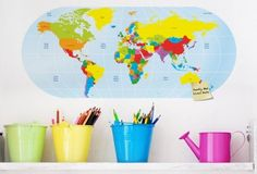 Primary World Map - Twiggy Decor Vinyl Wall Art, Twiggy, Playroom, South Africa, Kids Room, Tropical, Nursery, Map, Vinyls