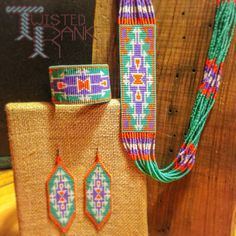 Custom beaded jewelry set - Be sure to check out Twisted Rank Beadwork on Facebook!