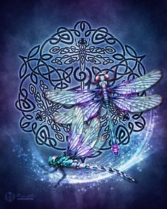 Celtic Dragonflies Triskele Pagan Wiccan Print by BrightArrow