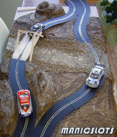 Slot car, slot car scenery, how-to, rally scenery track piece Cars 1, Slot Cars, Hot Wheels, Hot Rods, Cars Vintage, Las Vegas, Slot Car Tracks, Race Tracks, Slot Machine Cake