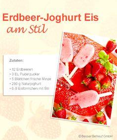 Great for kids! Strawberry Yogurt Popsicles, Popsicle Molds, Plain Yogurt, Fresh Mint, Powdered Sugar, Vegetables, Fruit, Recipes, Food