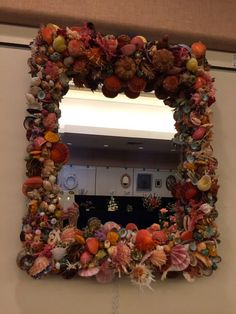 Hand Made Sea Shell and Coral Mirror  by dakotaholmes  Sanibel Shell Show 2015 White Ribbon