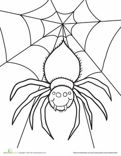 """Worksheets: Spider Coloring Page GREAT for """"S"""" Day"""