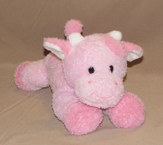 "Prestige Baby 2 Tone Pink White Cow Plush Stuffed Animal Toy Moo Sound 7658 11"" #Prestige"