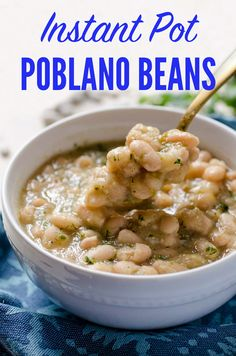 These tomatillo poblano white beans are a warm stew of perfectly creamy beans, tart tomatillos, spicy poblano pepper, onion, cumin, and oregano. They can be made in less than 40 minutes in your Instant Pot. A vegan, healthy, and easy way to prepare beans #veganmexican #instantpotrecipes #beans