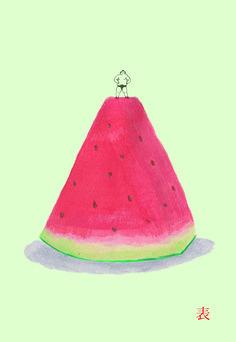 hasino-chiduko Watermelon Baby, Fruit Illustration, Fruit Recipes, Food, Essen, Meals, Yemek, Eten
