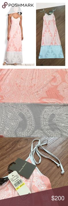 """NWT Tommy Bahama peach/gray Puccini Paisley Maxi 📦Same day shipping (excluding Sun/holidays or orders placed after P.O. Closed) ❤️Save on shipping: Add all of your """"likes"""" to a bundle and submit an offer  NWT Tommy Bahama Beautiful peach and gray long maxi dress with Paisley design and adjustable tie straps at the shoulders. 94% rayon and 6% spandex. Dress is 56.5"""" long (without ties). Shoulder ties are 19.5"""" long. For reference: I am 5'7"""" 34DD, 28"""" waist, 40"""" hips. I bought this for a…"""