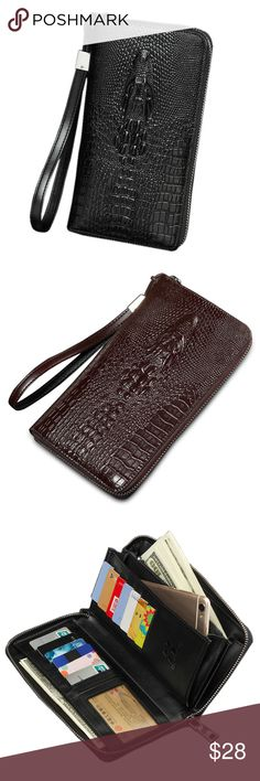 Crocodile Wallet Product Description  Features: 100% Brand New & High Quality , UNISEX for men and women Innovative handcrafted design to fit perfectly for your device  Compact and protective  This is High Quality specially designed Great Case  Can be used as a casual bag  Geniue leather material,can hold many things like card,cash,card,phone,etc Bags Wallets