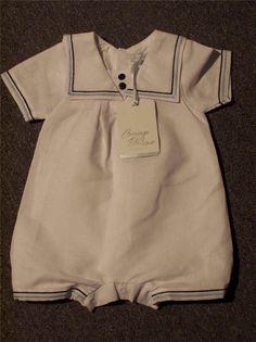 95552fd2c CARRIAGE BOUTIQUE Boys White Cotton/Linen Bubble Suit, Size 6 months, NEW w/ tags | eBay