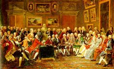 Lectura de La tragedie de l'orphelin de la Chine de Voltaire , en el salón de Madame  Geoffrin - por Anicet-Charles-Gabriel Lemonnier 1755.