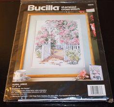 """Bucilla Stamped Cross Stitch Floral Arbor Kit #40676 Erin Dertner 11"""" x 14"""" NEW #Bucilla"""