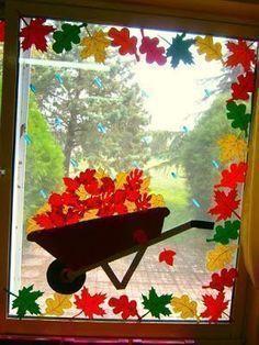 Decor of autumn doors and WINDOWS. It& here, it& already fall, dent . - Decor of autumn doors and WINDOWS. It& here, it& already fall, dent - Fall Window Decorations, Decoration Creche, Class Decoration, School Decorations, Fall Decor, Fall Classroom Decorations, Classroom Ideas, Autumn Crafts, Autumn Art
