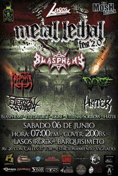"""Cresta Metálica Producciones » Lasos Rock presenta: """"Metal Lethal Fest 2.0"""" (Barquisimeto) // 6 Junio 2015"""