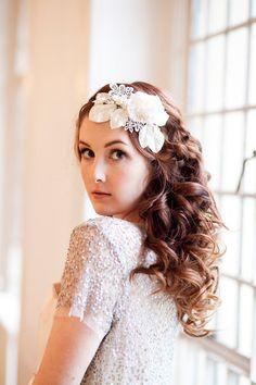 Vintage Velvet Blossom and Crystal Headdress. via Etsy. Headpiece Wedding, Bridal Headpieces, Wedding Veils, Fascinators, Special Occasion Hairstyles, Hair Jewels, Wedding Beauty, Dream Wedding, Wedding Hair Accessories